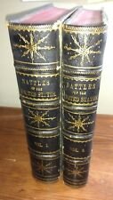 BATTLES OF THE UNITED STATES BY SEA & LAND DAWSON  1858 FIRST ED 2 VOL LEATHER