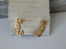 EARRINGS DELICATE ANTHROPOLOGIE MINI TINY  FLOWERS RHINESTONE GOLD PLATE TAG $38
