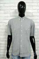 Camicia VALENTINO Uomo XL Manica Corta Cotone Hemb Chemise Camisa Quadri Grigia