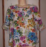 Orchadia Women's Size S Colorful Floral Print 100% Linen Blouse