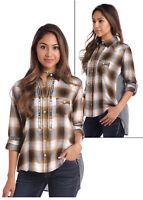 Panhandle Slim Women's Brown & Black Plaid Snap Up Shirt  22S2891 22X2891