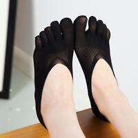 Women Plain Nonslip Invisible Lace Five Finger Toe Socks Ankle Boat Stockings FM
