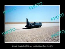 OLD LARGE HISTORIC PHOTO OF DONALD CAMPBELL WITH BLUEBIRD ON LAKE EYRE c1963