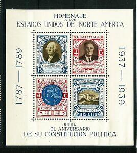 GUATEMALA 1938: 150 Jahre Verfassung der USA; Block 1** pfr. (L910)