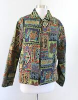 Parsley and Sage Green Elephant Patchwork Print Sequin Tapestry Jacket Size M