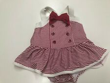 Gymboree Baby Girl Stripes Red Bathing Suit Size 12-18 Months New UPF 50+