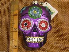 Cannon Falls Glassworks Blown Glass Purple Day Of The Dead Skull Ornament New