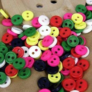 7mm Round Craft Micro Buttons Tiny Small Mini Plastic Dolls Sewing 25 pcs B97