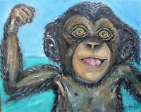 CHIMP CHAMP baby chimpanzee oil painting big canvas original art signed CROWELL