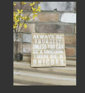 'Unicorn' Inspired Quote Plaque With Stand Height 16cm Distressed Wood Finish #3
