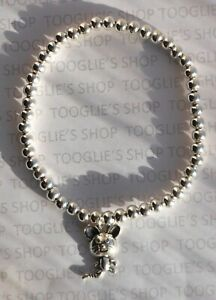 HANDMADE SILVER PLATED STACKING BEAD STRETCH BRACELET - MOUSE CHARM BNWT (046)