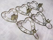 "Lot of 5 Brass Toned 7/8"" Candle Wall Sconces Heart Shaped Pattern 8"" Home Decor"