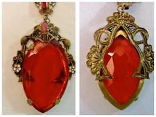 "VTG Antique Czech Glass Art Deco Red Bead Necklace Enamel Brass Filigree 19"""