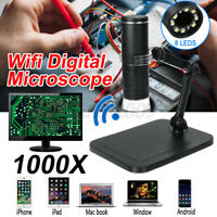 1000X 8 LED USB Wireless Digital Microscope Endoscope Magnifier Camera 1080P