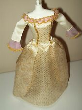 Barbie Princess And The Pauper Anneliese Cream Gold Wedding Gown Dress RARE