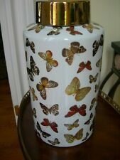 Large White Porcelain Vase With Hand Painted Butterflies and Gold Lid