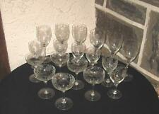 Vintage Stemware matching etched glasses Lot of 18 in  3 Sizes