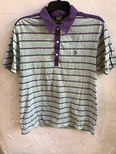 👀🐧Penguin Men's/boys M Short Sleeve Green Striped Polo Shirt👕