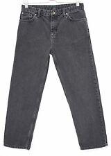 Topshop Slim Leg GIRLFRIEND Vintage STONEWASHED BLACK Crop Jeans Size 10 W28