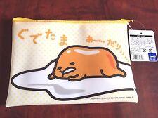 F/S SANRIO Gudetama Egg Zipper Vinyl Bag Flat Pouch Kawaii Cosmetic from Japan