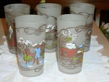 New Listing5 Vintage Frosted Currier & Ives Glasses Hazel Atlas Tumblers 5 Different Scenes