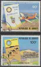 Timbres Transports Avions Trains Rotary Lions Club Djibouti 515/6 o (40528Z)