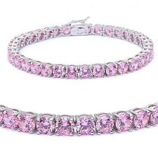Brilliant Round Simulated Pink Sapphire Diamond Sterling Silver Tennis Bracelet