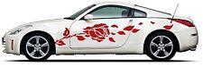 Picniva rose Racing Car Body Side Stripes Sticker Decal 2 Pcs