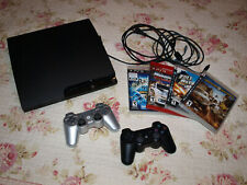 SONY PLAYSTATION 3 SLIM PS3 160GB CECH-2501A System + 4 Games + 2 Controllers