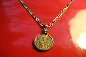 """MEXICAN Golden Brass Eagle Coin Bezel Pendant 24"""" Gold Filled Figaro Chain"""