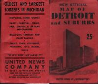 Vintage Map of Detroit and Suburbs Detroit Michigan