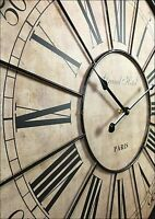Wall Clock French Vintage Roman Numeral 60cm Painted Wooden iron Large Paris