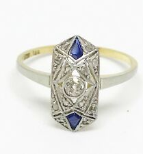 Antique Art Deco Natural White Diamond Blue Sapphire Ring 18K Solid Gold