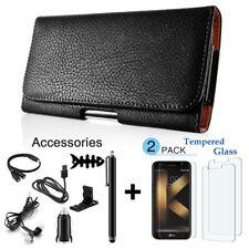 Lg V35 ThinQ V30 V40 K20 Plus Leather Belt Clip Horizontal Pouch Holster Case