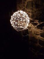 Drahtkugel Lampe Alu LED 45 cm Handarbeit Garten Geschenk