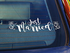 Static Cling Window Car Sign/Decal Just Married 2 100 x 300mm