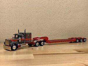 Dcp 1/64 Mack Super Liner With Tri Axle Lowboy Trailer Semi Truck Farm Toy