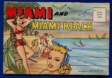 Miami & Miami Beach cartoon sunbathers Biscayne Bay linen postcard folder