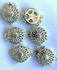 Sterling Silver 3-Strand Fancy Filigree 12mm Round Clasps w/Rings - Marked 6 Pcs