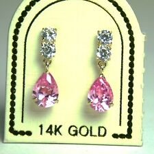 14K solid yellow gold teardrop natural rose Quarts & white Topaz earring/teens