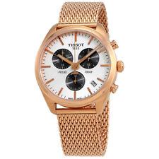 Tissot PR 100 Silver Dial Mens Chronograph Rose Gold Mesh Watch T1014173303101