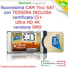 CAM + CARD BOLLINO GOLD TIVUSAT DIGIQUEST CERTIFICATE HDTV PER TV CON TUNER SAT