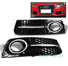 09-12 AUDI A4 B8 BASE HONEYCOMB FRONT BUMPER FOG LIGHT GRILLE COVER GLOSSY BLACK