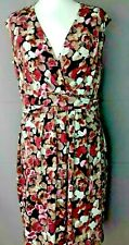 Size UK 16 Floral Pink Purple Mauve Ruched Stretchy Pullover Quality Dress US 12