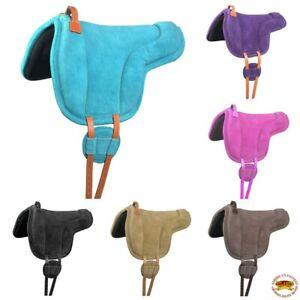 Hilason Horse Bareback Saddle Pad Anti Slip Base Suede Leather U-N-VX