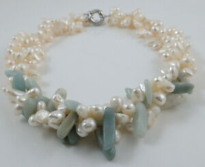 White Pearl Amazonite Gemstone Cluster Necklace & Ring Clasp 17.5-19''