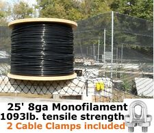 Monofilament Cable Wire Rope (25') 8GA Black Support Cable & 2pk Cable Clamps