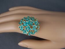 Turquoise Gold tone floral flower bunch bouquet big cocktail ring adjustable
