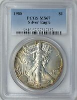 1988 $1 American Silver Eagle PCGS MS-67  (Beautifully Toned) ASE