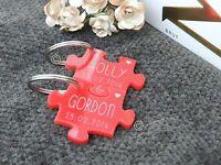 Personalised Red Jigsaw Puzzle Acrylic Keyrings, Wedding, Valentines,